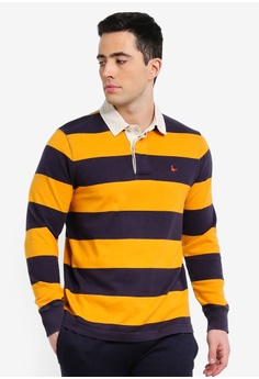 fe456b88b46 Jack Wills yellow and multi and navy Camber Stripe Rugby Polo Shirt  8AEF8AA8D9FDFFGS_1