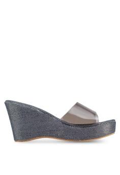【ZALORA】 透視寬帶閃飾楔形鞋
