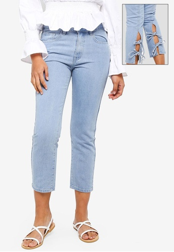 Something Borrowed blue Back Ties Cropped Jeans 8D4A5AA9294586GS_1