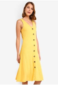 5bf39ba9e10287 ONLY yellow Nella Button Dress E9E67AA0C05125GS 1