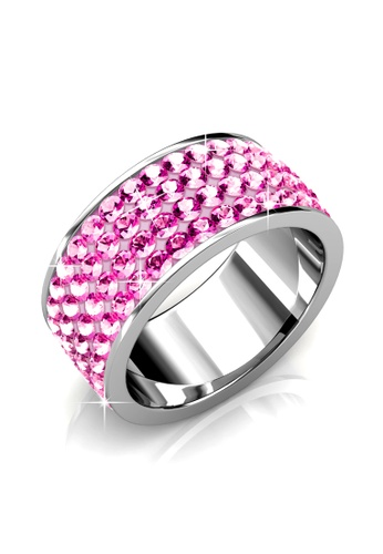 Her Jewellery pink Swarovski® Crystals - Roller Ring (Light Pink)(18K White Gold Plated) Her Jewellery HE581AC0RAK0MY_1