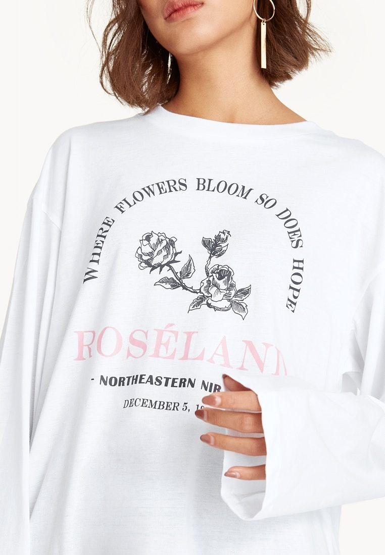 Roséland Pomelo White White Tee Graphic Sleeve Long zxvdAa