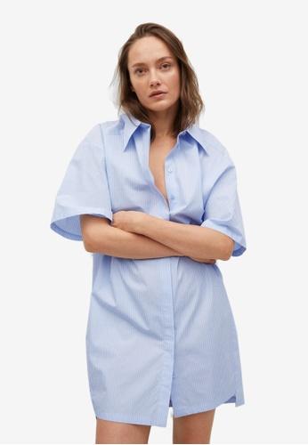 Mango 藍色 Striped Shirt Dress 61B7AAA9C72E30GS_1