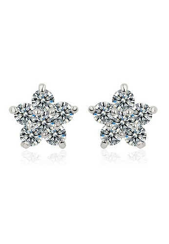 Vivere Rosse silver Shinning Star Diamond Simulant Stud Earrings - 18K White Gold Plated VI014AC07ZVGMY_1