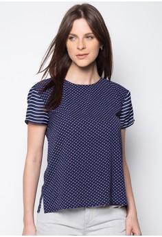 Striped Sleeves Printed Short Sleeve Top