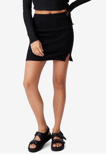 Cotton On black Streamline Ribbed Mini Skirt 41E3AAAB3AA5C2GS_1
