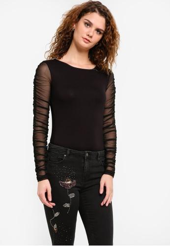 Dorothy Perkins black Mesh Sleeve Top DO816AA0RPH5MY_1