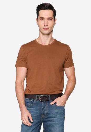 Burton Menswear London brown Brown Organic Cotton Short Sleeve Crew Tee CC1DAAA7A6F22FGS_1
