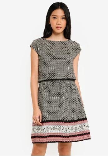 ZALORA black and white Shift Dress with Elasticated Waist 9683DAA25FFABAGS_1