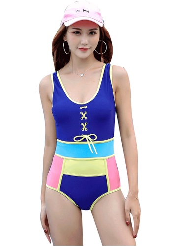 YG Fitness blue Sexy Contrast Color One-Piece Swimsuit 6A2A4USDD153F2GS_1