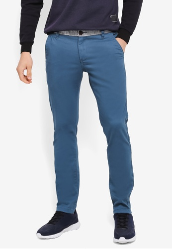 UniqTee blue Slim Chinos With Striped Waistband UN097AA0SYTYMY_1