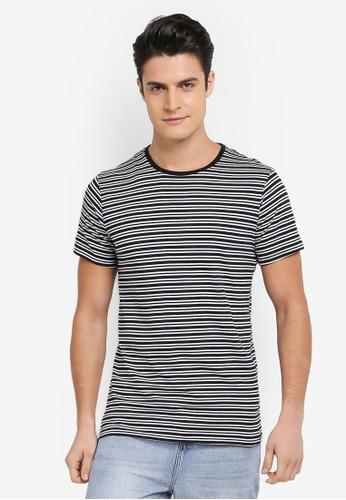 Cotton On 黑色 and 白色 條紋短袖圓領T恤 7465FAA554F542GS_1