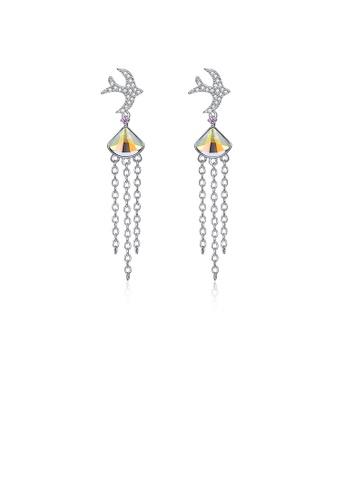 Glamorousky multi 925 Sterling Silver Cute Little Swallow Tassel Earrings with Color Austrian Element Crystal C8850AC18FAD43GS_1