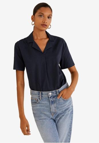 Mango blue and navy Camp-Collar Shirt 856B9AA29F6511GS_1