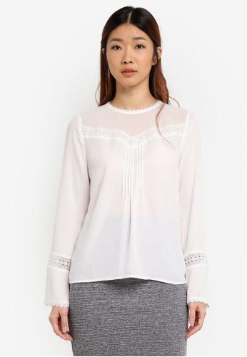 WAREHOUSE white Lace Trim Box Pleat Top 9A27FAA64F2034GS_1