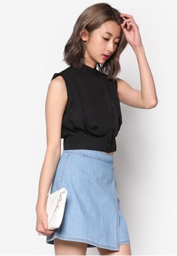 esprit china褶飾短版無袖襯衫, 服飾, 上衣
