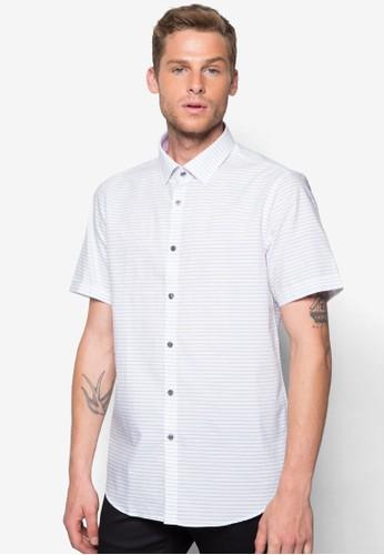 橫條紋短袖襯衫, 服飾, 襯zalora 台灣門市衫
