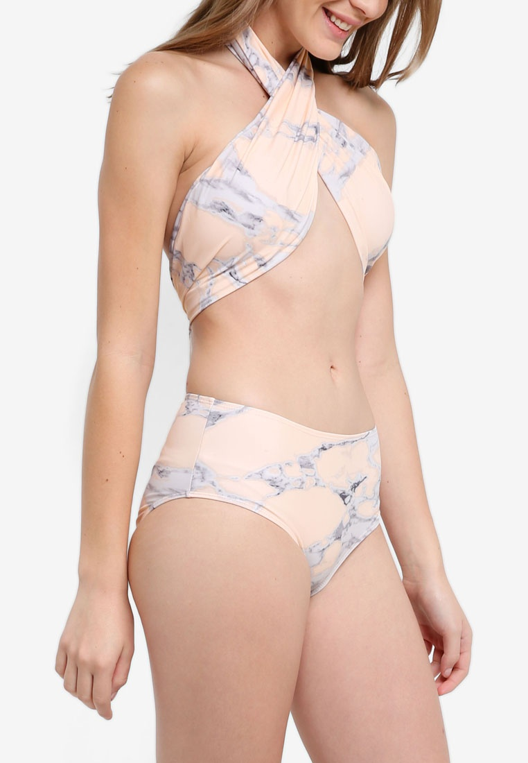 Peach Waist Around Beach South Peach Brief Hi W Marble Wrap Bikini 6HqOFgxOn