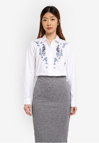 WAREHOUSE white Gilly Floral Embroidered Shirt 4C0F7AA928B3D2GS_1