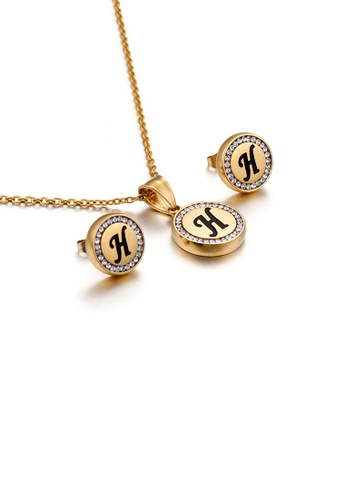 Glamorousky white Fashion and Simple Plated Gold English Alphabet H Geometric Round Cubic Zirconia with 316L Stainless Steel Necklace and Stud Earrings Set AC971AC3902D4AGS_1