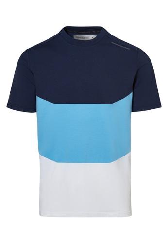 Porsche Design white and blue and navy Porsche Design x PUMA Navy Men's Tee Colourblock Blue Tee for Men AEC99AA1A24CB8GS_1