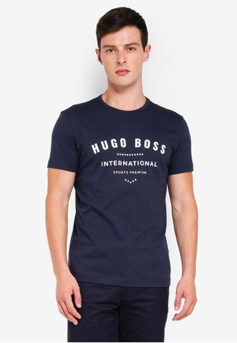 BOSS 海軍藍色 短袖LOGO印花T恤 C5D6EAA98D34D6GS_1
