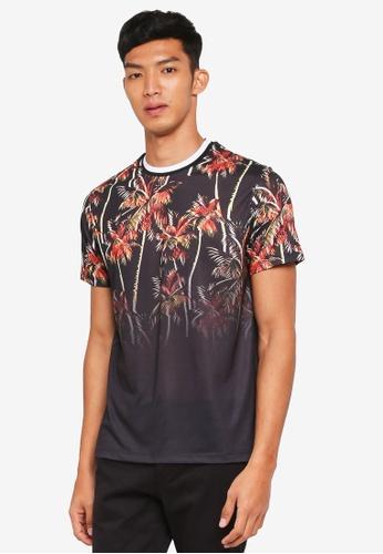 Topman black Black Plam Tree T-Shirt 19061AA8DAF2FDGS_1