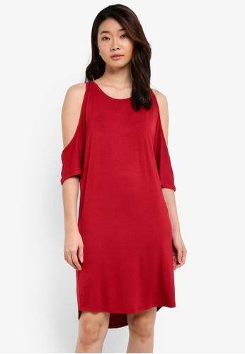 ZALORA red Basic Cold Shoulder Dress With Curved Hem AEFE8ZZ4C3118CGS_1