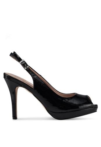 Carlton London 黑色 仿漆皮後繞帶高跟鞋 16413SH91A1E1BGS_1