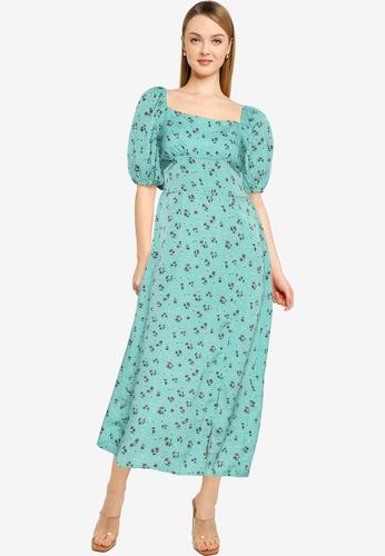 MISSGUIDED green Floral Print Puff Sleeve Midi Dress 13F0DAAA88D875GS_1