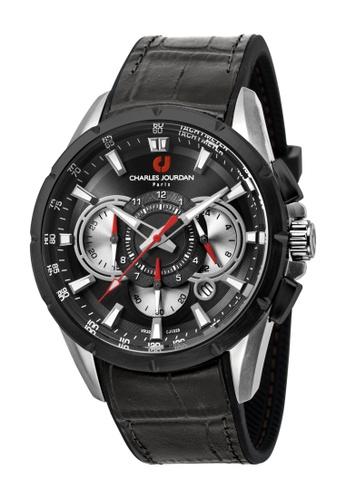 Charles Jourdan black Charles Jourdan Men CJ1029-1332C Black Silicone Leather Watch CH774AC0WAPLID_1