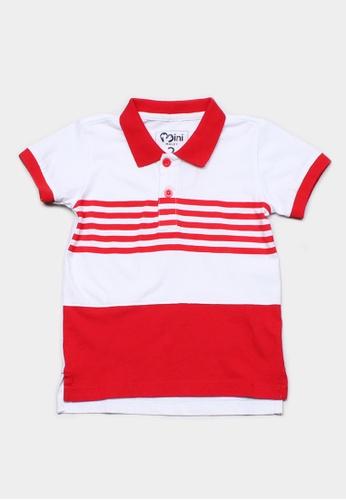Mini Moley red Striped Colour Block Boy's Polo T-Shirt C49B2KA7A28452GS_1