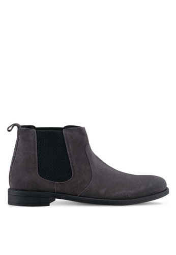 ZALORA grey Calf Suede Leather Chelsea Boots C0A6ASHB468D91GS_1