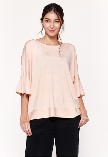 Sisley pink Sweater with Rouches 7A427AA55478F4GS_1