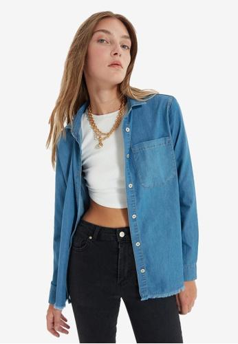 Trendyol blue Frayed Denim Shirt 80C7DAA183007BGS_1