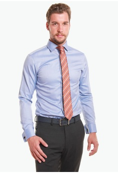 7723ce9a T.M. LEWIN blue T.M.Lewin Fitted Royal Blue Oxford Double Cuff Shirt  ADB07AABD961A5GS_1