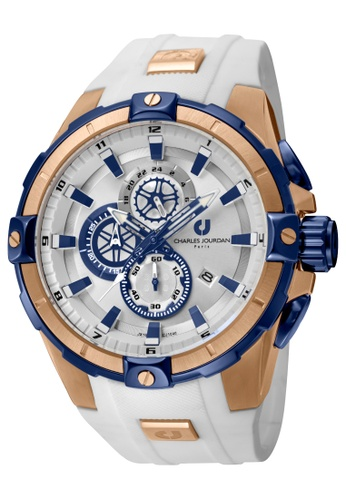 Charles Jourdan white Charles Jourdan Men CJ1040-1512C White Silicone Watch 411C6AC81F03EFGS_1