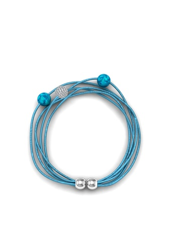 Her Jewellery blue Leather Bracelet (Blue) - Licensed Genuine Crystals from Swarovski® HE581AC0RDGSMY_1