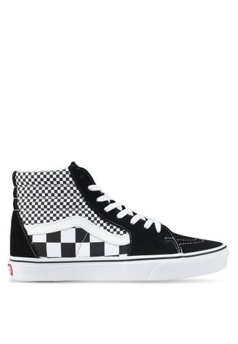 VANS black SK8-Hi Mix Checker Sneakers VA142SH0SWRPMY_1