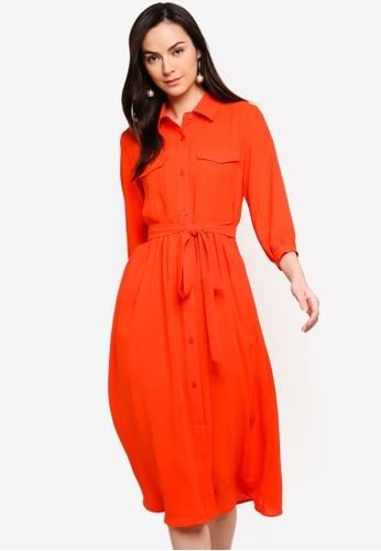 ZALORA orange Button Down Shirt Dress 8B4F1AA8DE5047GS_1
