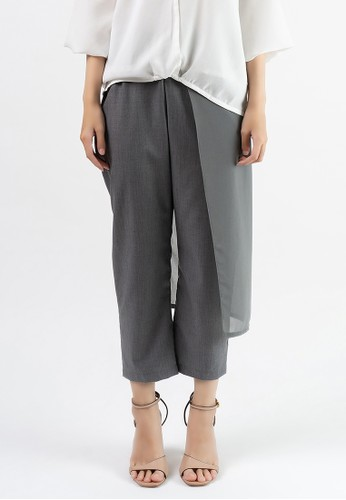 Anyday & More grey LADYLIKE TROUSERS Grey with Grey Layer EEFBCAA5FA62D5GS_1