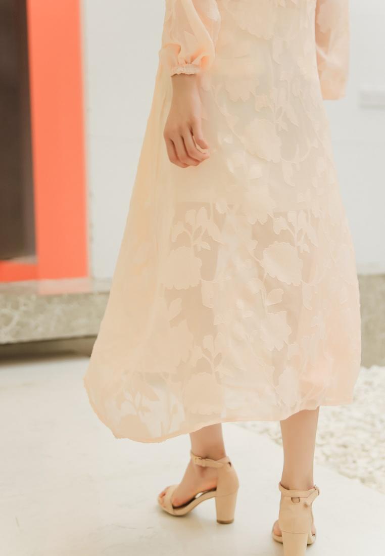 Peach Dress in Midi See Hoodies Shopsfashion Through Orange qxB1PZwF