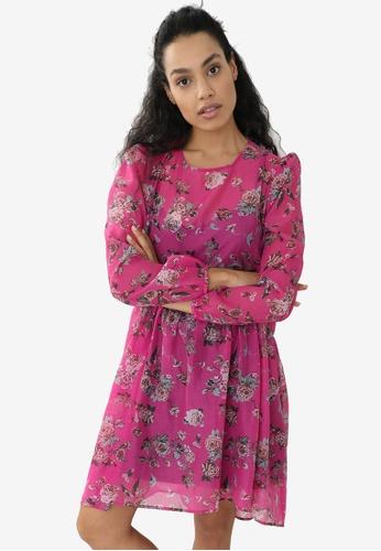 PIMKIE purple Babydoll Print Chiffon Dress E75BFAA02B5342GS_1