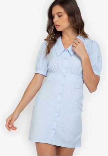 ZALORA WORK multi Puff Sleeve Collared Dress 72492AA09AE59FGS_1