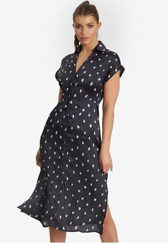 Willa navy Harvey Midi Dress E8954AADF2806EGS_1