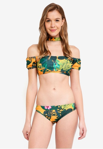 PINK N' PROPER multi Kaia Tropical Off-Shoulder Choker Bikini Set 9993CUS9D4A236GS_1