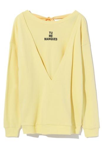 tout à coup yellow Cutout ribbon tie sweater 60236AAC203C81GS_1
