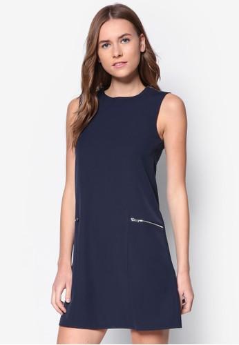 拉鍊口袋A 字連zalora鞋身裙, 服飾, 洋裝