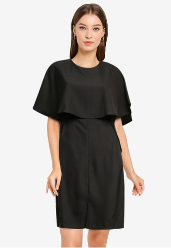 ZALORA WORK black Cape Sheath Dress E64C5AAF5B047EGS_1