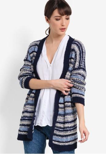 esprit 香港 outlet混色粗針開襟外套, 服飾, 毛衣& 針織外套
